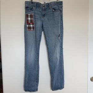 Gap real straight flannel patch jeans
